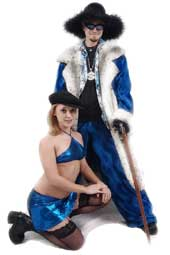 Pimpdaddy® Premium Pimp Suits - Royal Blue Valboa w/Snow Cat Fur Pimp Suit